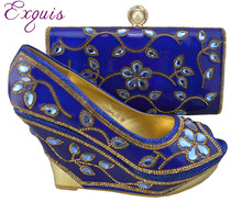 wholesale italian design shoes with evening bag for African lady high quality 1308-L30 Size 38-42 Royal blue