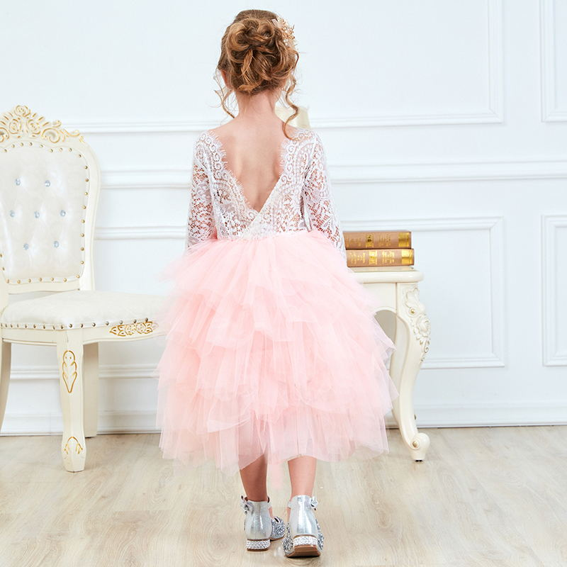 HTB1G9OQdfc3T1VjSZLeq6zZsVXaN Children Girls Embroidery Clothing Wedding Evening Flower Girl Dress Princess Party Pageant Lace tulle Gown Kid Girls Clothes