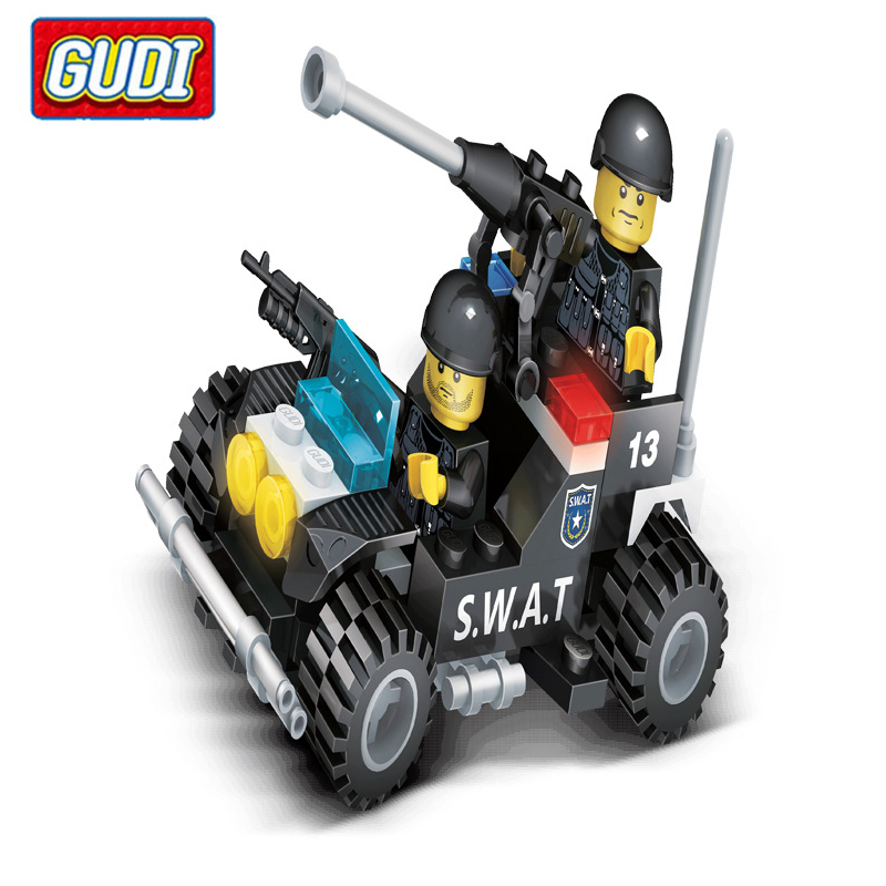 gudi special police blocks toys for children explosion proof special police assault car model building kits kids assembled toys