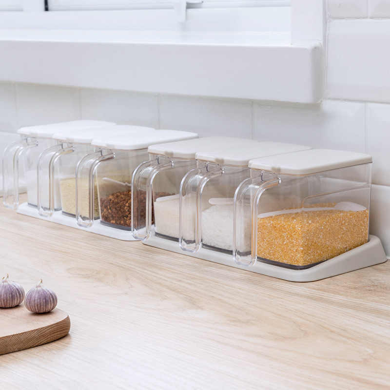 3 Grids Spoon Kitchen with Lid Container Seasoning Box Herb Spices Storage Condiment Jar Cooking with Handle Desktop
