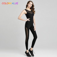 Colorvalue Mesh Patchwork Dance Yoga Jumpsuits Women Sexy Backless Ballet Gym Tracksuit Removable Pads Sport Fitness Bodysuit