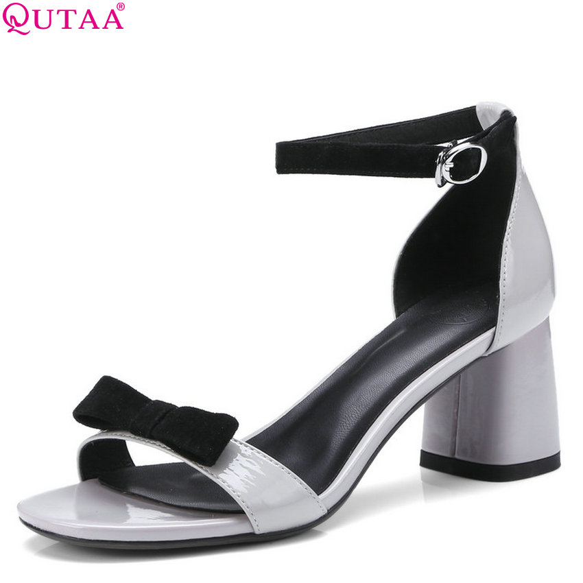 QUTAA 2018 Women Sandals Cow Leather + Cow Suede Fashion Women Shoes Square High Heel Peep Toe Women Sandals Size 34-42 qutaa 2018 women sandals pu leather fashion square high heel women shoes casual black square toe ladies sandals size 34 42