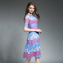 2017 Summer Hot Sell Lace A-line Dress for Women Blue Floral Dresses Loose Slash Neck Vestido Hollow Out Female Robe N609