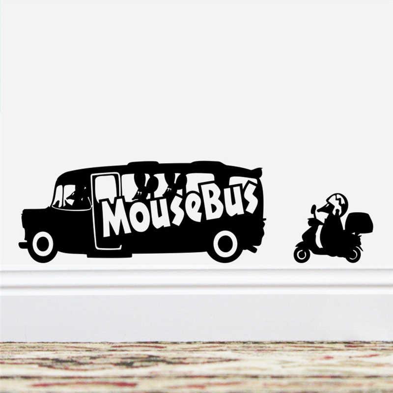 Cartone animato del mouse bus nero del vinile autoadesivi di arte della parete living room home decor adesivos de parede fai da te decalcomanie della decorazione