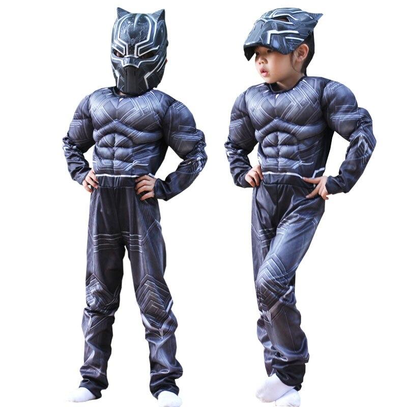 Детский костюм «Черная Пантера» для костюмированной вечеринки на Хэллоуин; Нарядное платье; Комбинезон для мальчиков