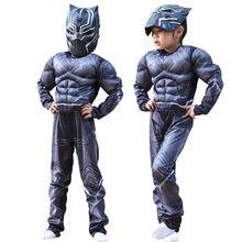 Crianças black panther muscle traje cosplay festa de halloween vestido extravagante macacão menino