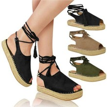 New Summer Black Women Sandals PeepToe Ankle Strap Sandals Women Casual Lace Up Women Platform Sandals Zapatos Mujer 2019 Shoes