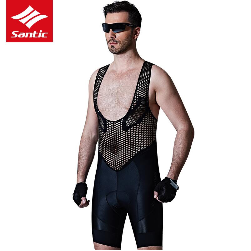 все цены на Santic Men's Profession Cycling Bib Shorts Top QUALITY Italian Imported Fabric 4D Cushion Pad Breathable bike Clothings онлайн