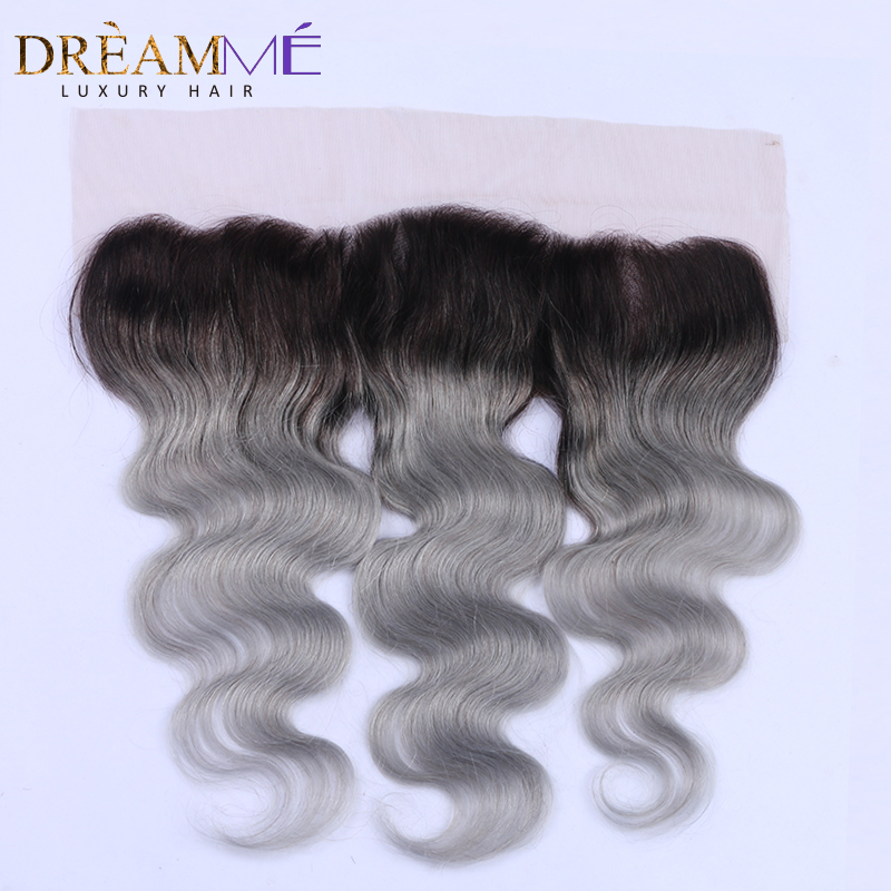1b Grey Body Wave 13x4 Lace Frontals Closure Ombre Brazilian Human Hair Gray Frontal With Baby