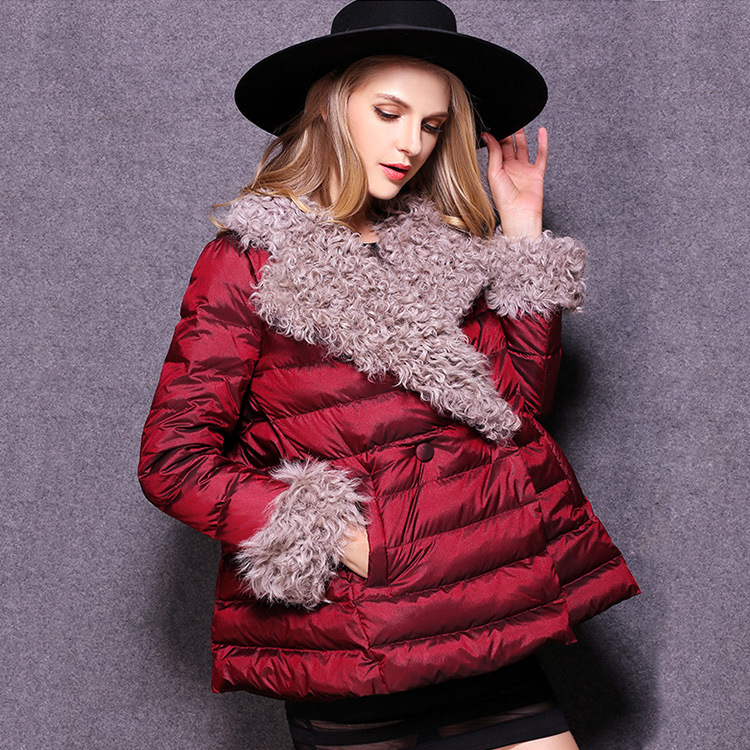 Winter plus size coat long wool in Europe and America brought sheep volume hair thickening a cloak feather padded 2016 women new