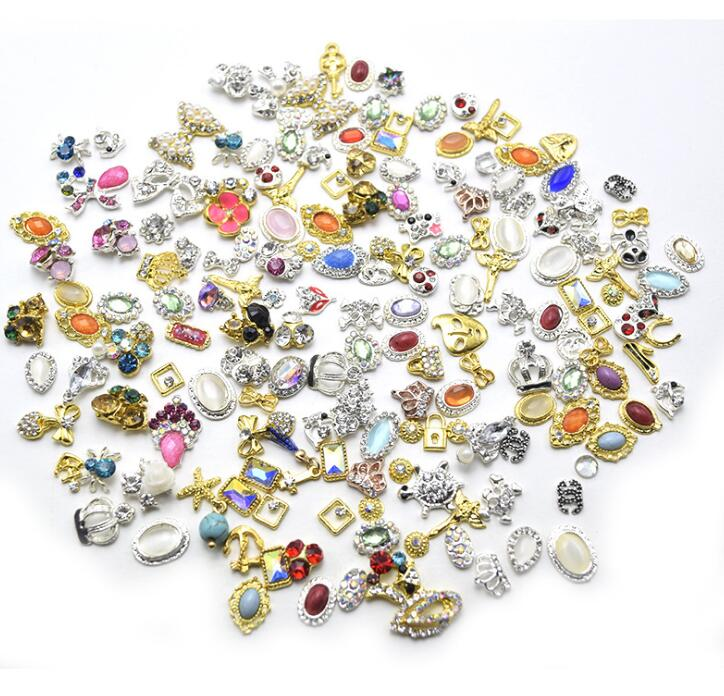 10 adet Mix yaylar/çiçek/kristal tırnak takılar, tırnak mücevheri temizle Rhinestone glitter charm Nail DIY deco/taki el yapimi tedarik JS