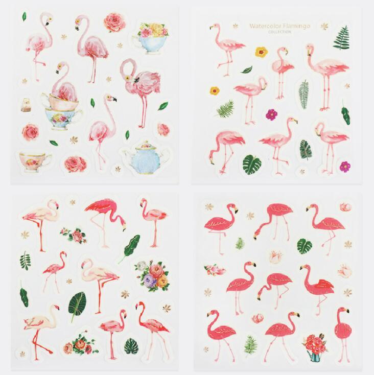 4 Pcs/pack Hot Flamingo Decorative Stationery Stickers Scrapbooking DIY Diary Album Stick Label