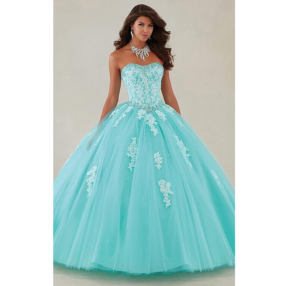 Teal Wedding Gown: 2016 Teal Long Prom Dresses Ball Gown Sweetheart Appliques