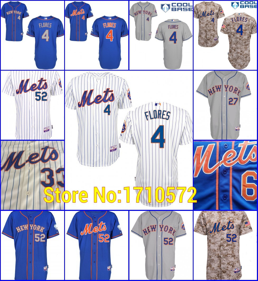 more photos 6e138 2b725 Mens New York Mets Shirt 4 Wilmer Flores 52 Yoenis Cespedes ...