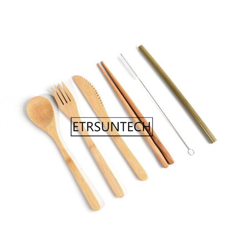 50 zestawów przenośny nóż piknik naturalne wielokrotnego użytku słomy łyżka widelec pałeczki naczynia kuchenne bambusa zestaw sztućców w Zestawy naczyń obiadowych od Dom i ogród na  Grupa 3