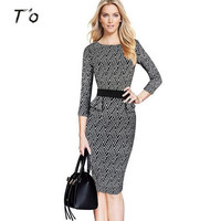 T'O Frühling Herbst Retro 3 Viertel Sleeve Schwarz Weiß Tartan Bund Schößchen Formal Office Business Work Party Bodycon Kleid 232