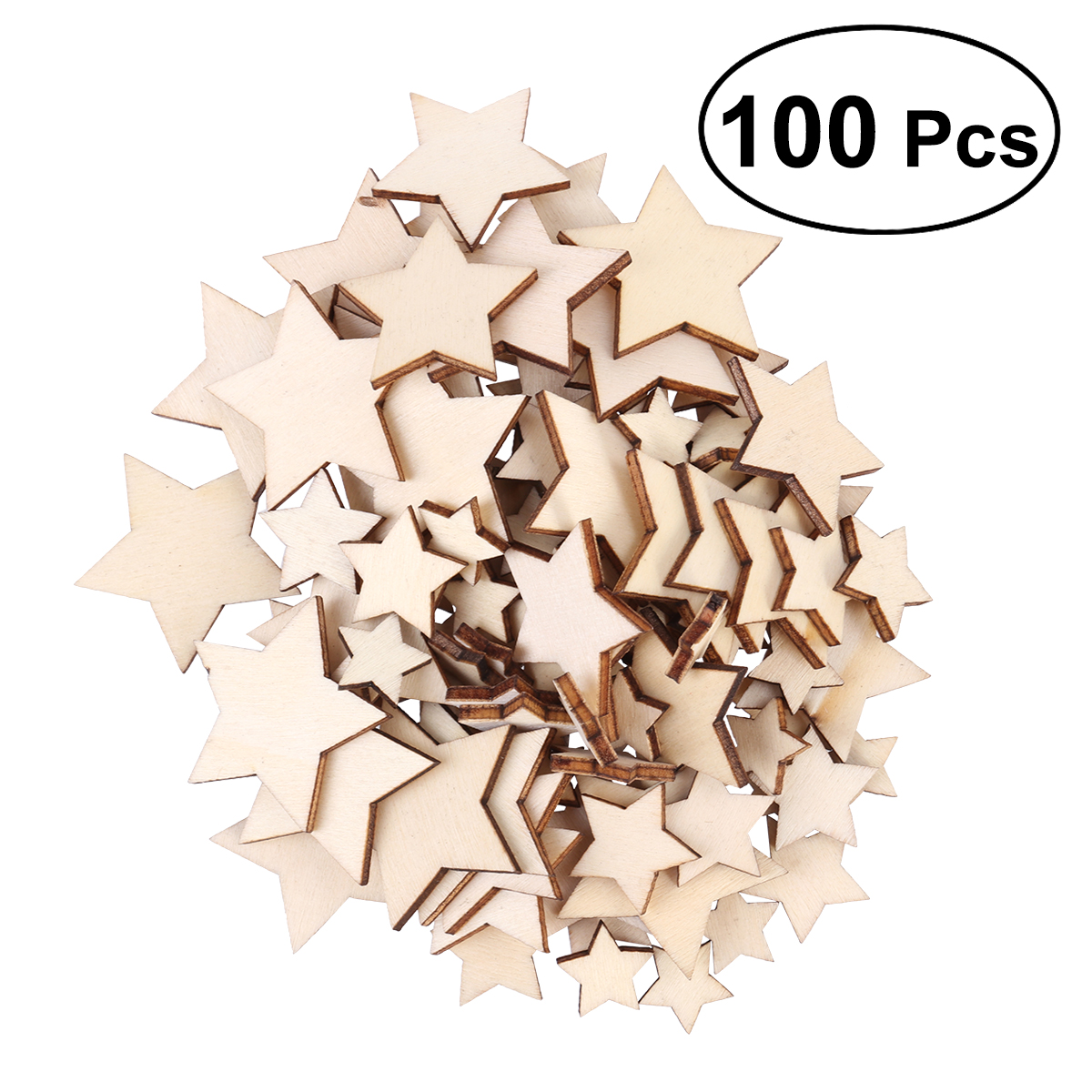 100PCS Wooden Stars Shape Cutout Discs Unfinished Wood Pieces Scrapbooking Arts Crafts DIY Decoration Birthday Wedding Muti Size In From