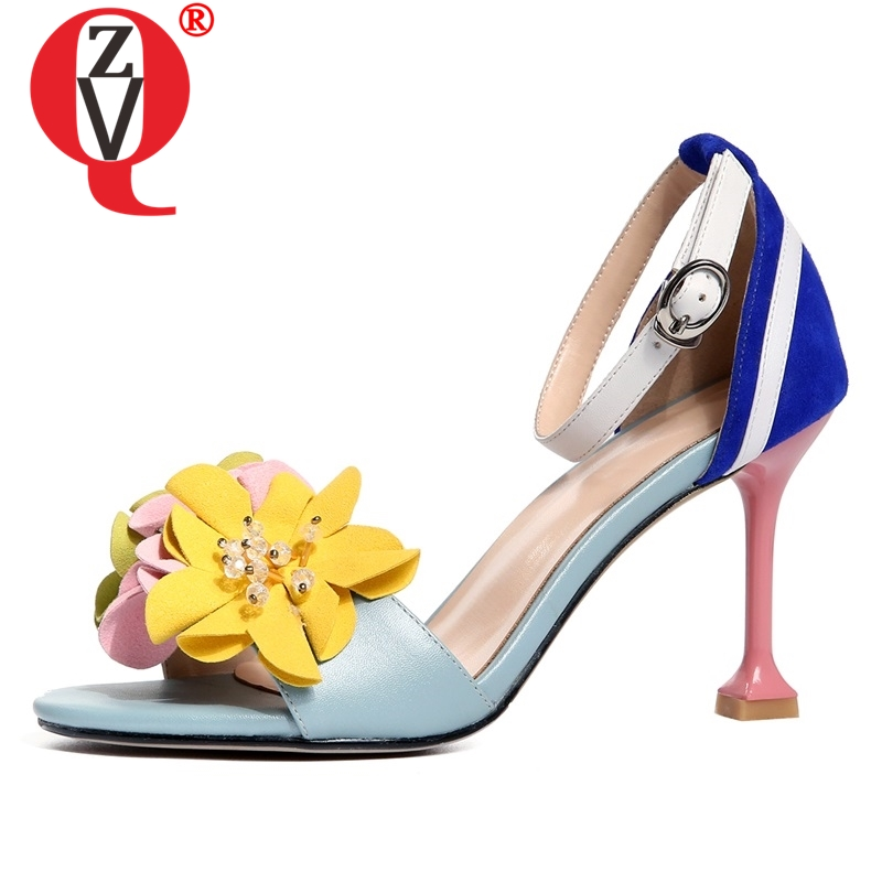 ZVQ Summer genuine leather sandals flowers party fashion woman Sweet cute girl wedding shoes dance blue