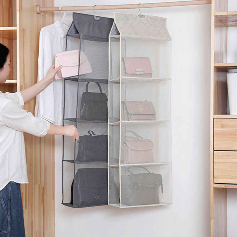 2019 New 2-4 Pockets Hanging Organizer Bag Foldable Handbag Purse Storage Dispenser Reusable Bag