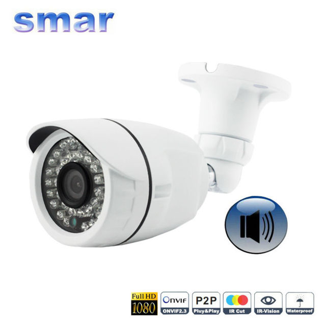 FULL HD 1080P IP Camera Audio Onvif 2MP Outdoor Waterproof Bullet CCTV Camera With External Microphone Pickup