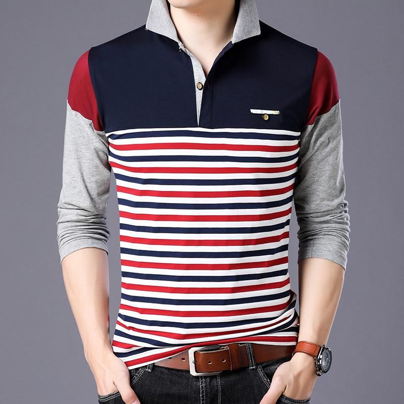 Stripe   Polo   Shirt Men 2018 Spring Brand Clothing Cotton Long Sleeve Top Bottom Collar Tops Plus Size M-5XL Men Clothes