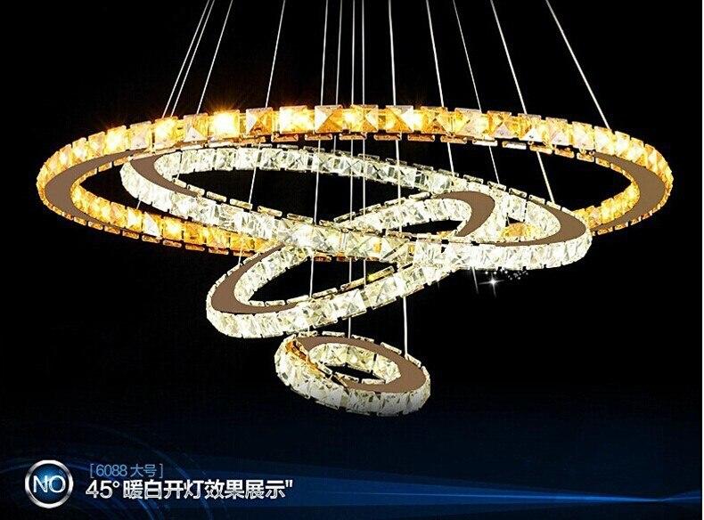 Personalità creativa NUOVO Diamante 4 Anello LED K9 Lampadario di Cristallo di Luce Cerchi Crtstal lampada atmosfera di Lusso consegna gratuita - 6