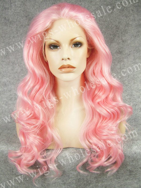 ФОТО Synthetic middle part lace front wigs pink  long wavy  heat resistant wig