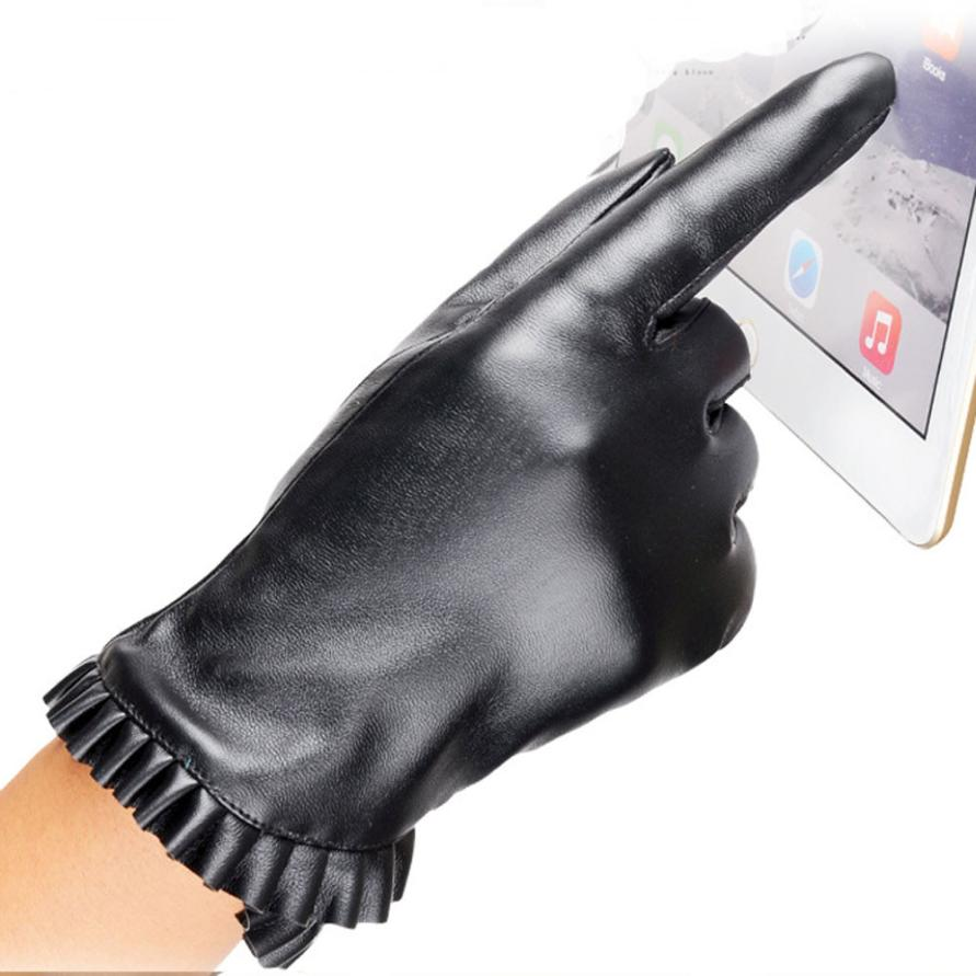 Womens leather gloves with touch screen fingers - New Winter Gloves Women Screen Phone Gloves Luvas Soft Leather Warm Windstopper Tactical Gloves Mittens Women