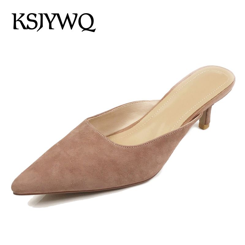 KSJYWQ Genuine leather Pointed-toe Women Mules Summer Style Slippers for Women 5 cm Thin heels for Sexy ladies Box Packing XJ061 цена и фото