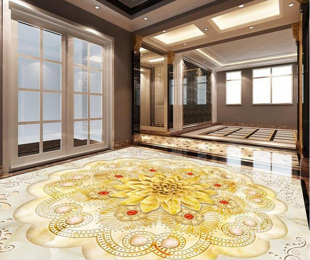 3d Floor Large Wallpaper Mural Custom European Wallpaper 3d Flooring Flower  Marble Wall Mural For Kitchen