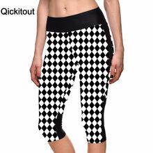 Qickitout Capri Pants 2016 Dropship Women's 7 Point Pants Diamond Lattice Digital Print Women High Waist Side Pocket Phone Pants(China)