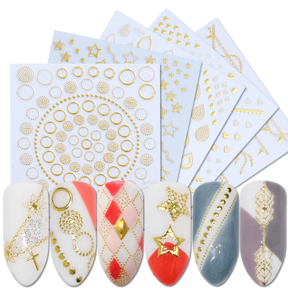 1 шт., золотые 3D наклейки для ногтей, наклейки для дизайна ногтей, блестящие металлические полые Цветочные лозы, клей для маникюра, Декор, BEDP325-348