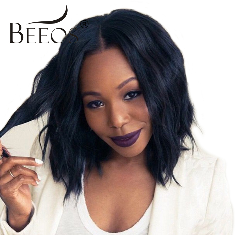BEEOS 250 Density Lace Front Human Hair Wigs With Baby Hair Bleached Knots Wavy Brazilia ...