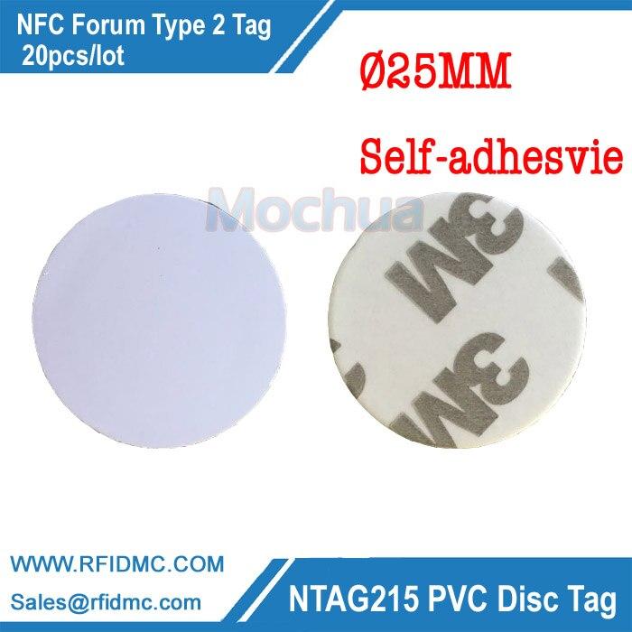 13.56MHz NFC Ntag215 Tag NTAG215 Disc Tag PVC with Self-adhesive for Tagmo 13 56mhz nfc ntag215 tag ntag215 disc tag pvc with self adhesive for tagmo