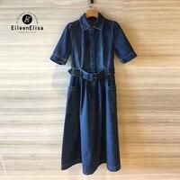 Для женщин синие джинсы платье Высокое качество Длинные Джинсовое платье Для женщин Элитный бренд платье 2018 с поясом
