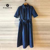 Women Blue Jeans Dress High Quality Long Jean Dress Women Luxury Brand Dress 2018 with Sashes
