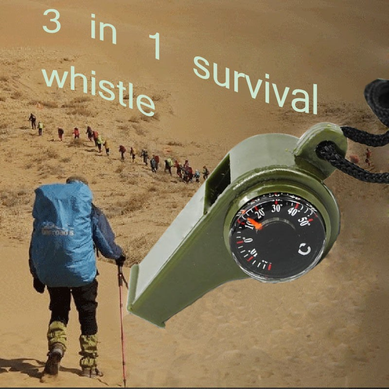 3pcs Free shipping Outdoor camping 3 in1Emergency Survival Gear Whistle Compass Thermometer