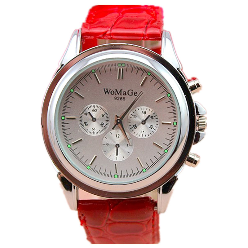 Womage New Brand Quartz Watch Simple Silver Case Women Men Dress Watches Leather Dress Wristwatches Fashion Casual Watches 1/pcs