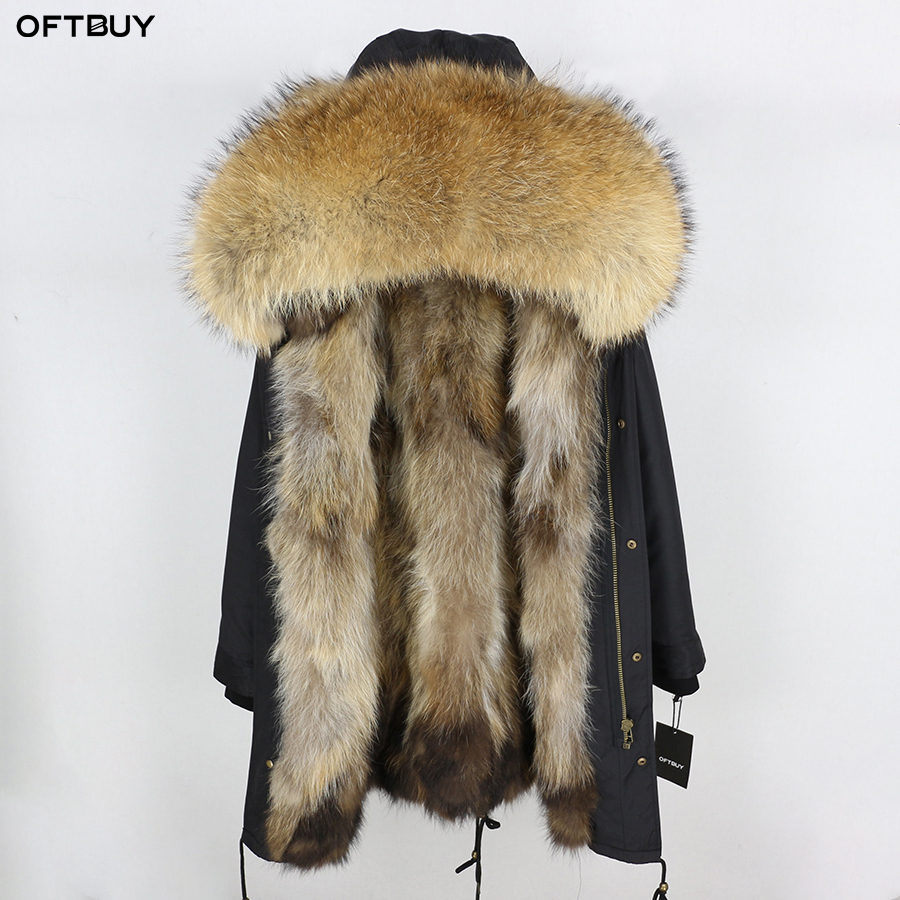 2019 Real Fur Coat Winter Jacket Women Long Parka Waterproof Big Natural Raccoon Fur Collar Hood