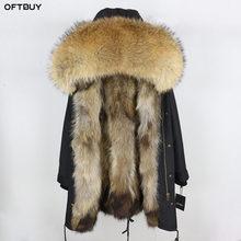 Натуральный мех пальто зимняя куртка женская длинная парка водостойкий большой натуральный енот меховой капюшон, воротник толстый теплый натуральный Лисий Мех Лайнер