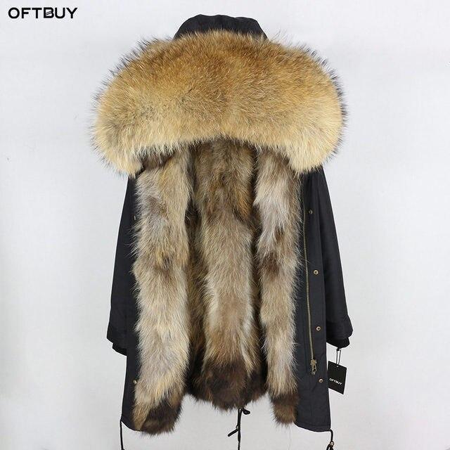 2019 Real Fur Coat Winter Jacket Women Long Parka Waterproof Big Natural Raccoon Fur Collar Hood Thick Warm Real Fox Fur Liner 1