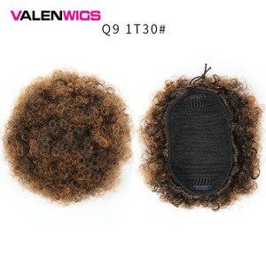 Парики из Валенсии афро пышные короткие кудрявые вьющиеся шиньоны волосы пучок шнурок синтетический конский хвост с зажимами наращивание ...