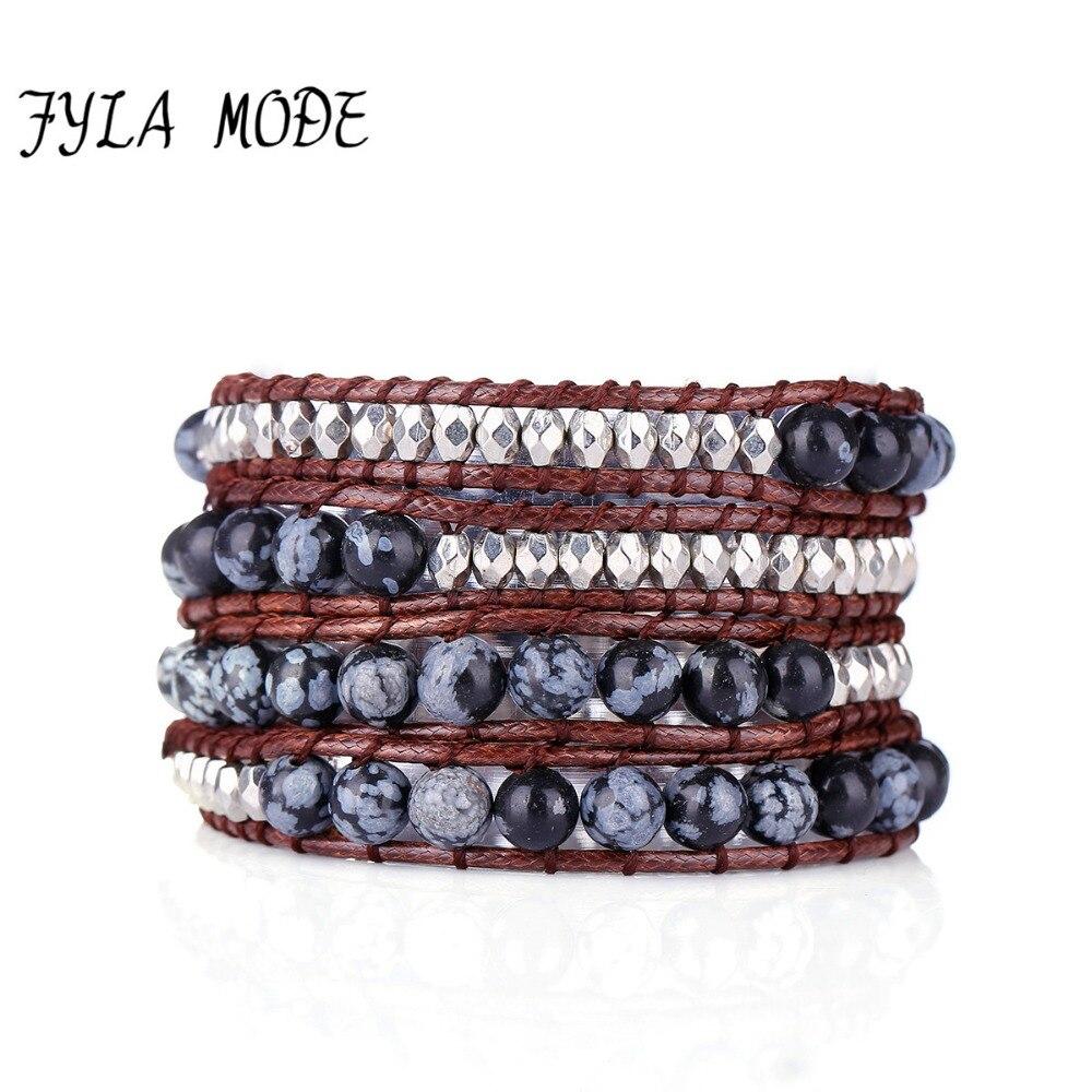 Fyla Mode vente chaude 4 couches flocon de neige rayé pierre Bracelet Mode hiver cire cordon en cuir Bracelet femmes fête bijoux chaud