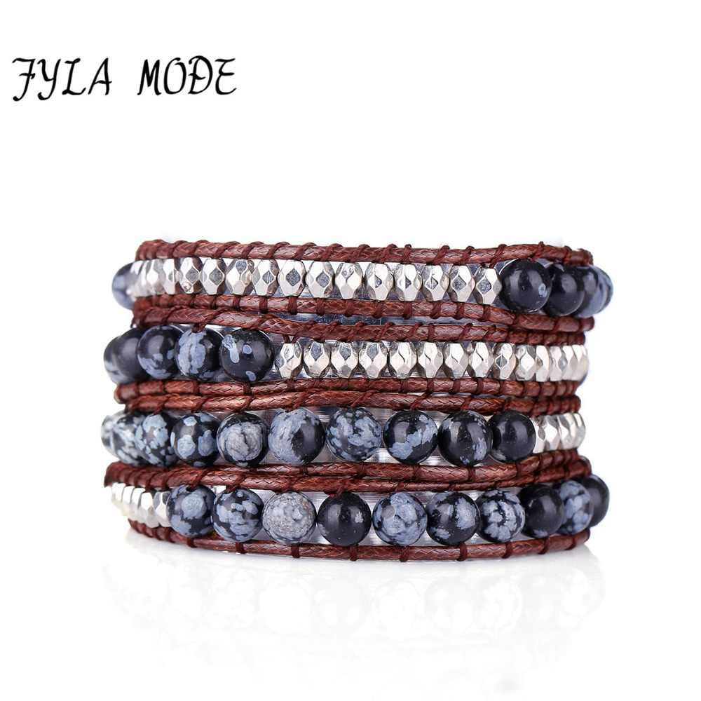 Fyla Mode Hot Sell 4 Layers Snowflake Striped Stone Bracelet Fashion Winter Wax Cord Leather Bracelet Women Party Jewelry Hot