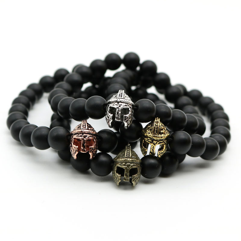 Gold-Color Roman Knight Spartan Warrior Gladiator Helmet Bracelet Men Black Matte Stone Bead Bracelets For Men Jewelry MN-4