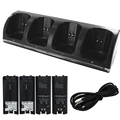 Black 4 x Rechargeable Battery and Quad 4 Charger Dock Station Kit for Wii Remote Controller Black