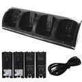 Negro 4 x Kit de Batería Recargable y Quad 4 Estación de Muelle Del Cargador para Wii Remote Controller Negro