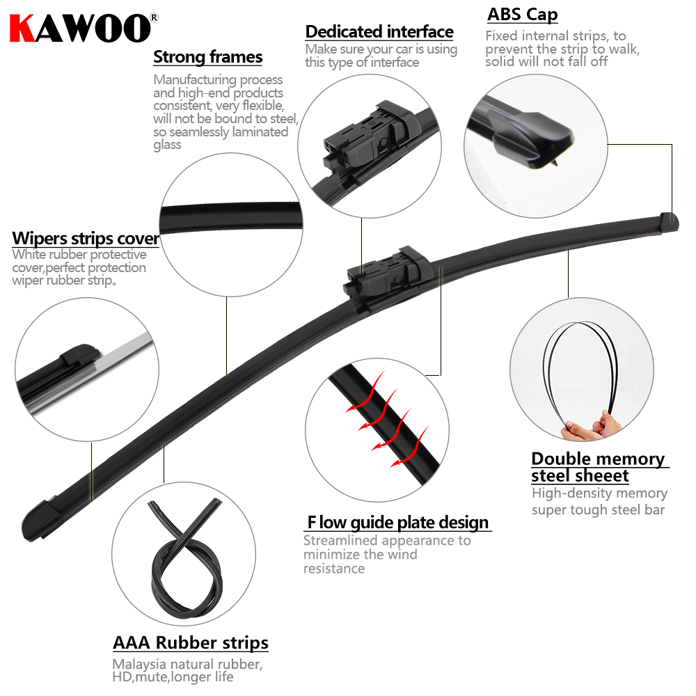 Kawoo 2pcs Car Wiper Blade For 24 14 Fiat 500 2007 Auto Soft Vacuum Diagram Rubber Windcreen Wipers Blades Accessories Styling In Windscreen From