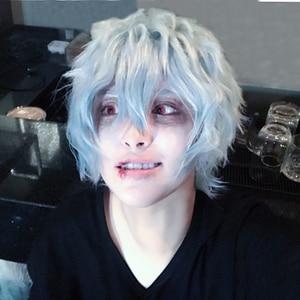 Мой герой научный Косплей Костюм Boku no Hiro Akademia Shigaraki Tomura, короткий серый синий смешанный парик из синтетических волос с бесплатной шапочкой
