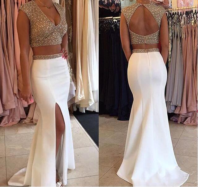 2017 White Beaded V-Neck Two Pieces   Evening     dresses   Plus Size Backless Mremaid Prom   Dress   Vestido de noche Robe de soiree longue